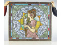 'La Plume', a stained glass and painted leaded glass panel