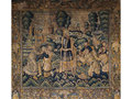 17thC Flandern tapestry, decorated with a parkscape and